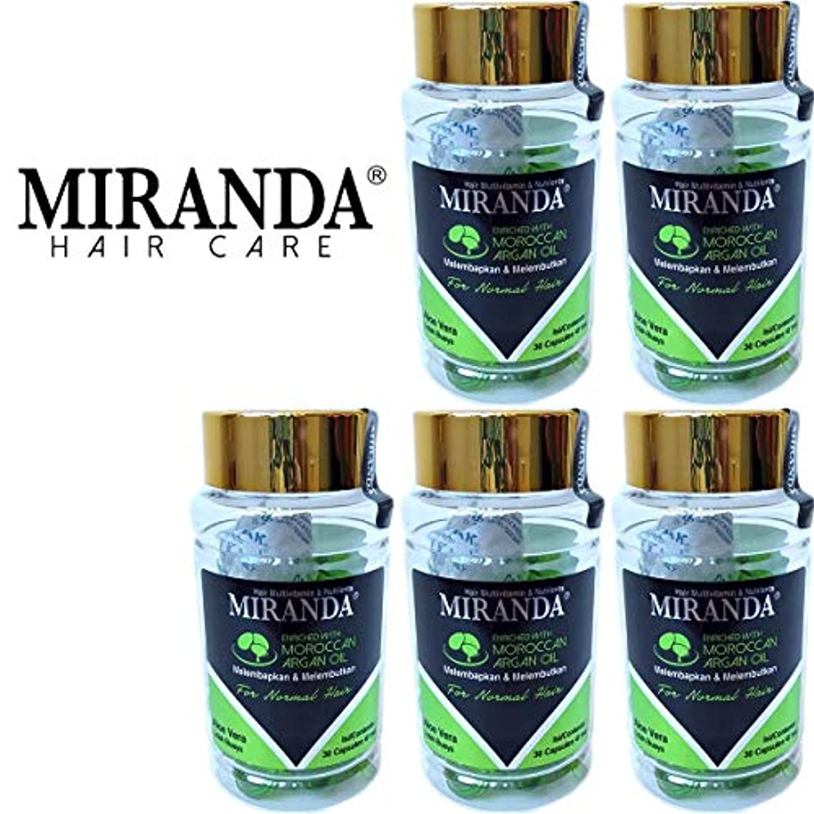 効能アウター近所のMIRANDA ミランダ Hair Multivitamin&Nutrients ヘアマルチビタミン ニュートリエンツ 洗い流さないヘアトリートメント 30粒入ボトル×5個セット Aloe vera アロエベラ [海外直送品]
