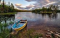 ヘードマルクFylkeの、ノルウェー、森、川、ボート、岩、木、雲 キャンバスの 写真 ポスター 印刷 旅行 風景 景色 - (50cmx33cm)