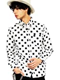 (エイト) 8(eight)4color 国産 ドットシャツ 水玉 長袖シャツ コットン 日本製 高品質 ホワイトB L
