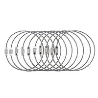 【ノーブランド 品】10本 キーホルダー キーリング キーアクセサリー ステンレス ワイヤーロープ 多機能 ギフト シルバー 全7サイズ - 18cm