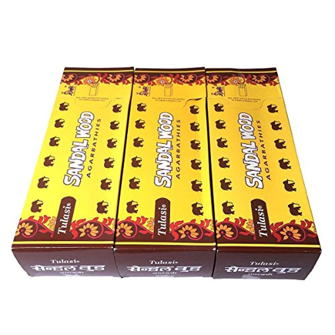 謝るフィッティング大惨事サンダルウッド香スティック 3BOX(18箱) /TULASI SANDAL WOOD/インセンス/インド香 お香 [並行輸入品]