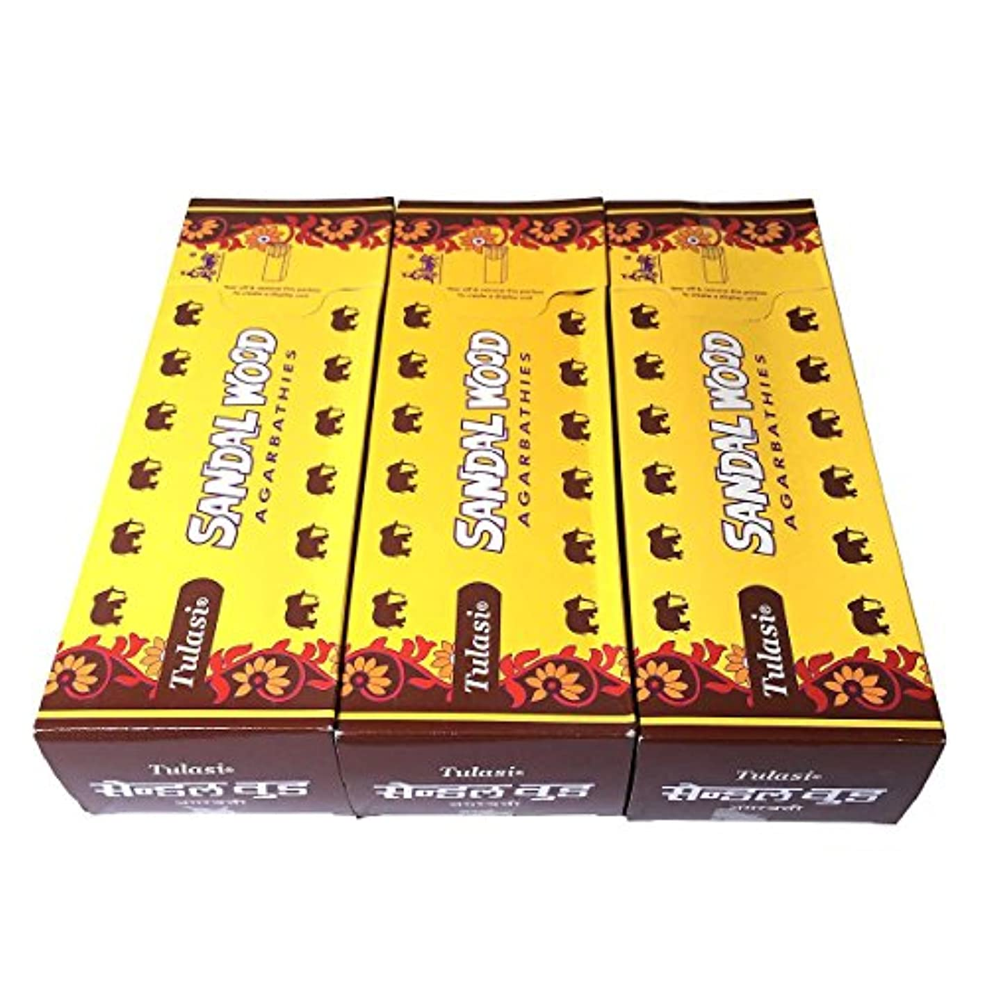 スラム街灰カストディアンサンダルウッド香スティック 3BOX(18箱) /TULASI SANDAL WOOD/インセンス/インド香 お香 [並行輸入品]