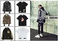 (オフホワイト)OFF-WHITE 【福袋】メンズ logoプリント図案 トップス 2枚セット(長袖コート+ Tシャツ半袖)18SS男女兼用 (M)