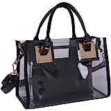 Rullar Women 2 Pcs Small Clear Tote Beach Shoulder Top-handle Bag PVC Transparent Satchel Handbag Purse