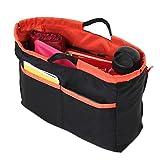 [クリスタルアーク] サイズが変わる ドリンクホルダー付き大き目 バッグインバッグ インナーバッグ トートバッグ用 リバーシブルバッグ 軽量 (ブラック×オレンジ)