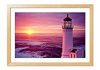日没海灯台 風景の写真 木製額縁 アートポスタ(30cmx40cm原色)