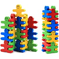 Develops Fine Motor Skills & Hand-Eye Coordination, Wooden Balance Stacking Blocks - Human Shaped Building Blocks Puzzle Balance Game