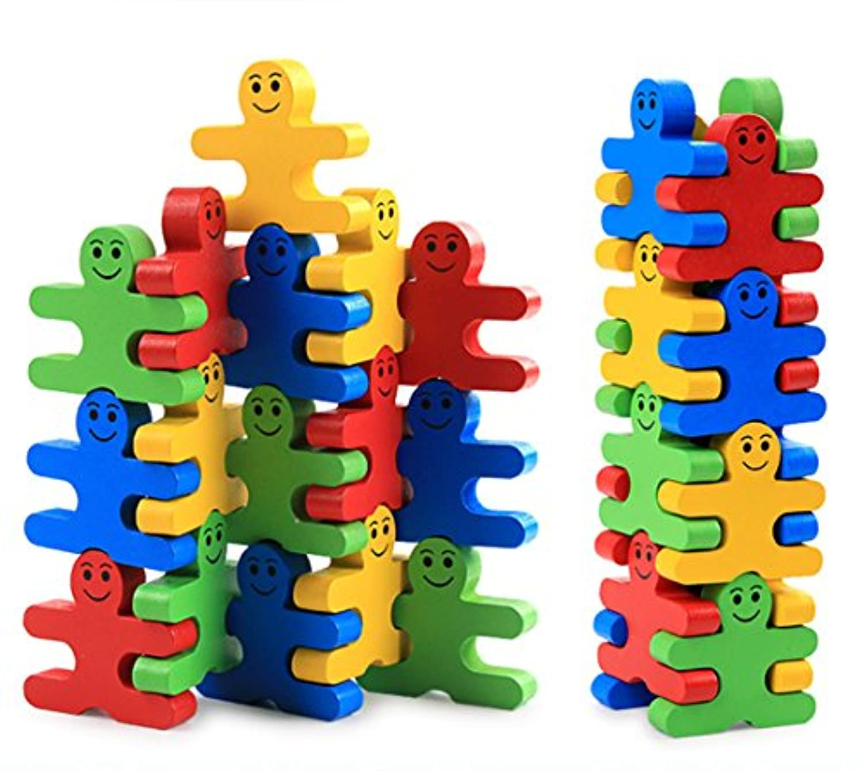 Develops Fine Motor Skills & Hand-Eye Coordination, Wooden Balance Stacking Blocks - Human Shaped Building Blocks Puzzle Balance Game