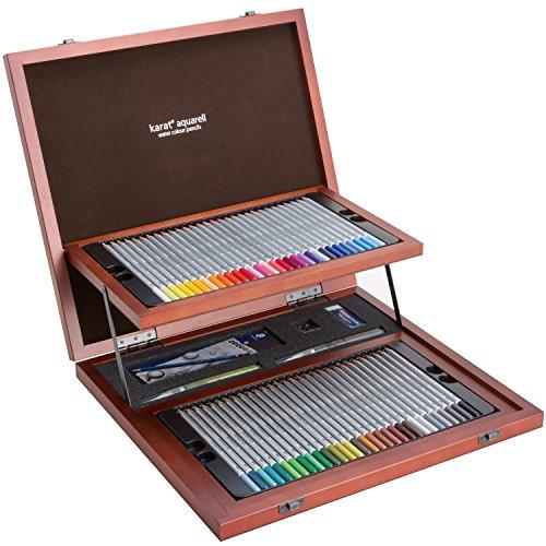 ステッドラー カラトアクェレル水彩色鉛筆 60色セット クリエイティブボックス(木箱入)