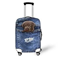DingDing スーツケースカバー ラゲッジカバー 伸縮素材 防水 かわいい デニム風 猫柄 犬柄 旅行 S M L サイズ お荷物カバー