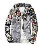 メンズプリントコート、todaiesメンズスリムスタンドカラージャケットファッションスウェットシャツジャケットトップスカジュアルコートアウター M グレー