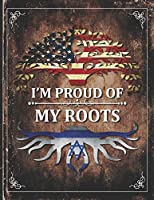 Im Proud of My Roots: Vintage Israel and American Flag Personalized Gift for Coworker Friend  Undated Planner Daily Weekly Monthly Calendar Organizer Journal