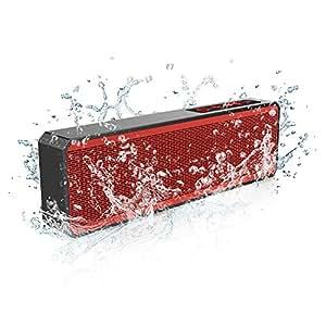 Trendwoo Pocket 超薄 ポータブル Bluetoothスピーカー 2*3W スピーカー+IPX4 防水+1200mAhリチウム電池+ハンズフリー通話可能+連続再生8時間 レッド