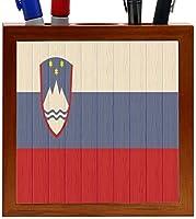 Rikki Knight Slovenia Flag on Distressed Wood Design 5-Inch Wooden Tile Pen Holder (RK-PH8789) [並行輸入品]