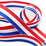 TRIXES 45m x 1mm French Tricolour Decorative Nylon Ribbon Spool Red White Blue for Bastille Day Arts Crafts Patriotic Banners National Celebrations