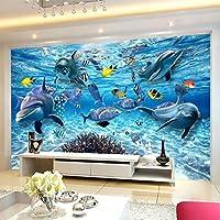 Xbwy Hd水中世界深海魚写真の壁紙3Dステレオ漫画壁画3D子供部屋リビングルームテレビソファ背景の壁の装飾-350X250Cm