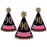 シック90th Birthday – ピンク、ブラックとゴールド – Mini円錐Birthday Party Hats – Small Little Party Hats – 10のセット