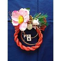 造花しめ縄 椿と松ぼっくりの花飾りB レッド
