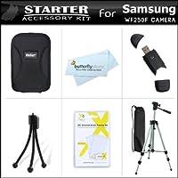 スターターアクセサリーキット Samsung WF250F 14.2 mp スマートWiFiデジタルカメラ用 デラックスキャリーケース+50三脚ケース+USB 2.0カードリーダー+LCDスクリーンプロテクター+ミニタブレットトップ三脚+マイクロファイバークリーニングクロス付き