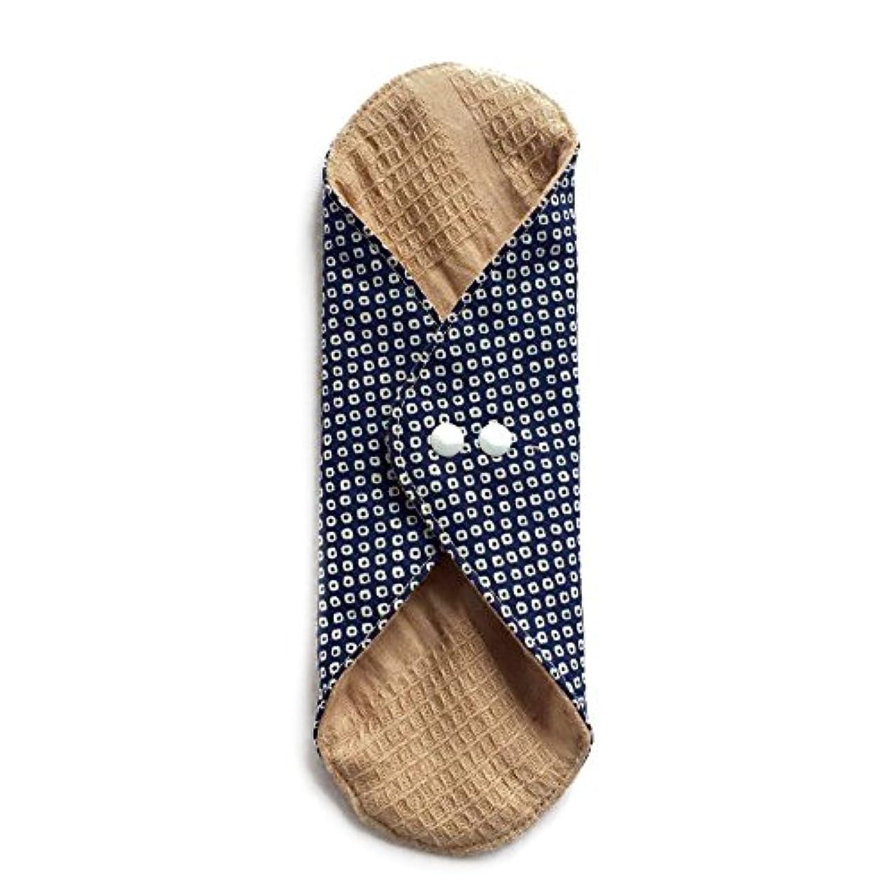 軽減望まない便宜華布のオーガニックコットンのあたため布 Lサイズ (約18×約20.5×約0.5cm) 鹿の子(紺)