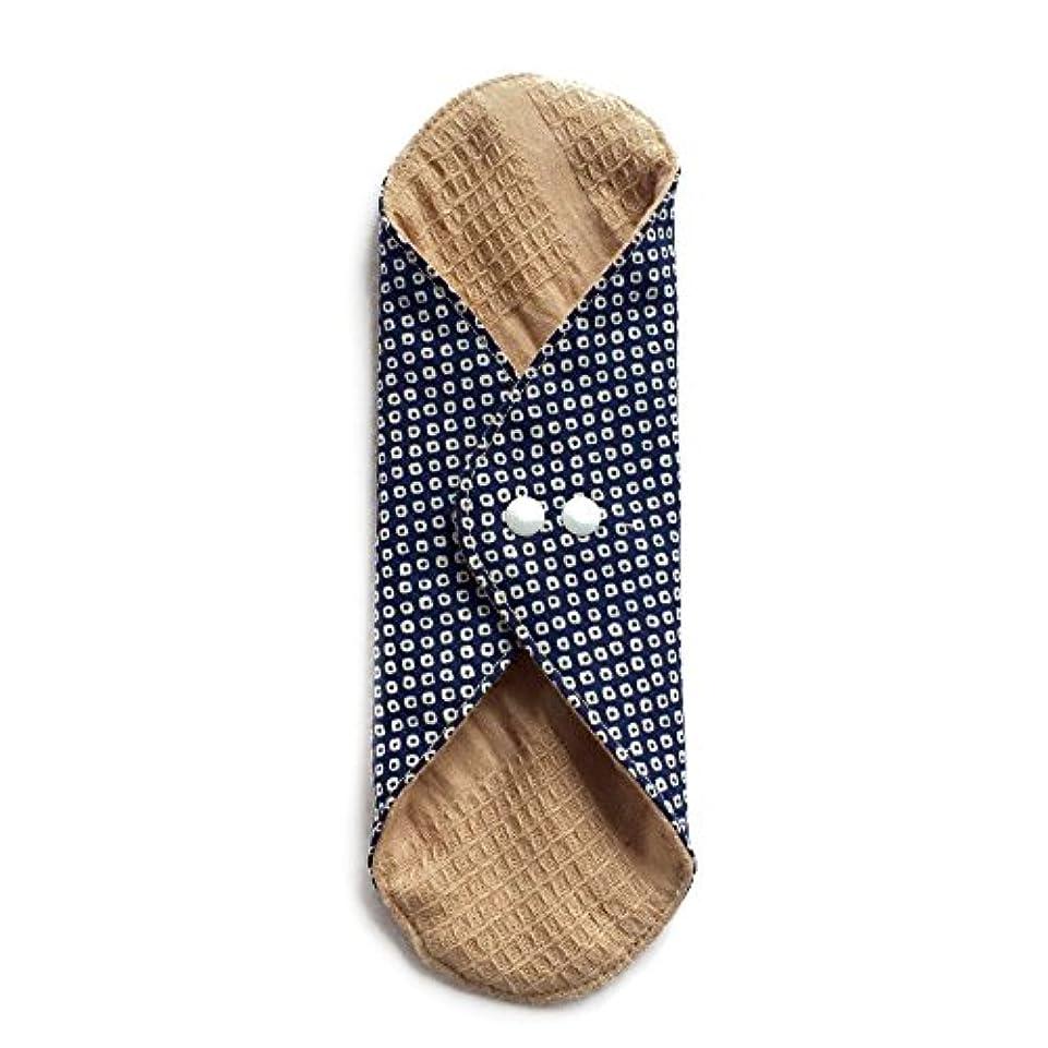 リズミカルなストラップ完全に乾く華布のオーガニックコットンのあたため布 Lサイズ (約18×約20.5×約0.5cm) 鹿の子(紺)
