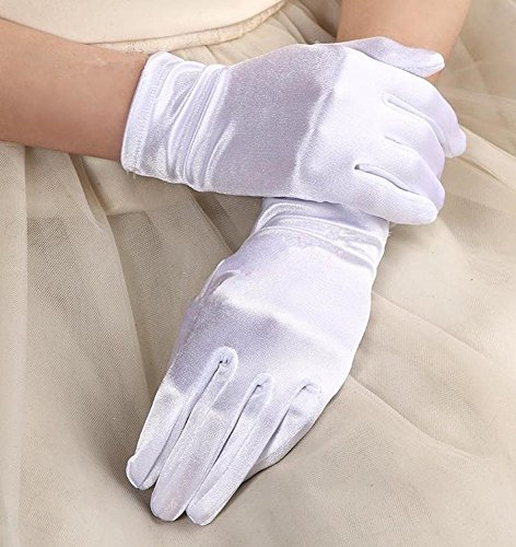 (CHOUCHOU) cosplay accessory hand bag satin stretch short gloves size (set of 10 white)