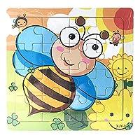 木製ジグソーパズル 子供用 1~5歳 かわいい漫画パターン 木製パズル 教育的発達 赤ちゃん 男の子 女の子 トレーニング おもちゃ 14.8×14.8×0.5cm