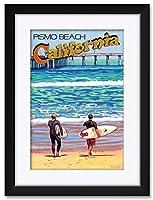 NorthwestアートMall Pismo Beach California Surf Talk Framedアートプリントby David Linton。 12x18 / 18x24 inch DL-6410 NFMF-EB