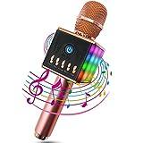 MODAR無線カラオケマイク ポータブルスピーカー LEDライトマイク 1人でカラオケ 高音質 録音可能 3.5mm AUXケーブル TFカード搭載 PC/iPad/iPhone/スマートフォンに対応 日本語マニュアル付 二色選択可能(ピンク)