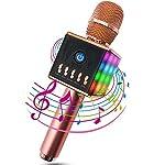 MODAR無線カラオケマイク ポータブルスピーカー Bluetooth 4.1 LEDライトマイク 1人でカラオケ 高音質 録音可能 3.5mm AUXケーブル TFカード搭載 PC/iPad / iPhone/スマートフォンに対応 日本語マニュアル付 二色選択可能(ピンク)