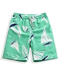 マルチサイズ 軽量 速乾性 メンズサーフパンツ 快適なサマービーチのパンツ 涼しい グリーン シーサイドリゾート (サイズ : XXXL)