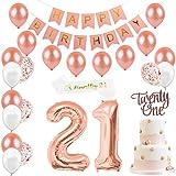21歳誕生日飾り付け ローズゴールド happy birthdayバナー 紙吹雪入れ 21アルミバルーン Twenty Oneケーキトッパー ショルダーストラップ シャンパンカラ 女の子 誕生日パーティーデコレーション