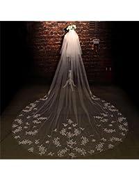 シュウクラブ- 韓国の花嫁のヘッド糸のレースの結婚式の長いテールのウェディングドレスの花嫁衣装のアクセサリー