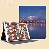 iPad Mini 3/2 / 1 ケース 超薄型 超軽量 TPU ソフトスマートカバー オートスリープ機能 衝撃吸収 二つ折りスタンド夜の劇的な都市白鳥川風景装飾的なパース西オーストラリアのスカイライン