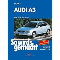 So wirds gemacht. Audi A3. Von 6/96 bis 4/03: Benziner 1,6 l / 74 kW (101 PS) 7/96-8/00 bis 1,8 l / 165 KW (225 PS) 9/01-4/03 und Diesel 1,9 l / 66 kW (90PS) 6/96 - 9/01 bis 1,9 l / 96 kW (130 PS) 9/00-4/03