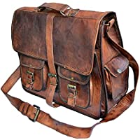 TUZECH Rustic Big Pocket Pure Leather Bag Office Satchel Bag - Fits Laptop Upto