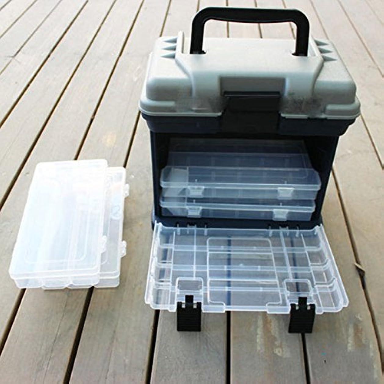 ガチョウ技術者コンプリート釣りタックルボックス、ポータブルアウトドア5層の大きな釣具タックルツール収納ボックスケースハンドル付き