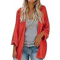RkBaoye Women's Long-Sleeve Cardigan Plus-Size Jersey Knitted Sweater