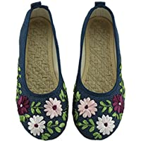 Gaorui Women's Vintage Embroidery Ballerina Flats Old Peking Slip On Linen Shoes