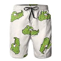 Cartoon Crocodile ワニ サーフパンツ メンズ 水着 海パン 海水パンツ ハーフパンツ 水陸両用 男性水着 スイムショーツ ハーフパンツ