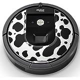 iRobot ルンバ Roomba 専用スキンシール ステッカー 960 980 対応 チェック?ボーダー 牛柄 白黒 模様 008658