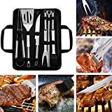 BBQ Grill Tool Set 9-Piece Barbecue Accessories with Portable Case Stainless Steel Outdoor Heavy Duty Grilling Kit for Family Barbecue Grill Utensils for Camping Party Picnic