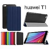 【Asng】HUAWEI MediaPad T1 7.0LTE専用保護ケース 超薄型 最軽量 マグネット式 オートスリップ (HDクリア保護フィルム1枚付き) (紺色)