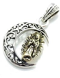 [シルバーワン] hi シルバー925 月と黄金のマリア(グアダルーペの聖母) アラベスクムーン ペンダントトップ ネックレス メンズ 金(ゴールド)