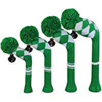 スコット・エドワード・グリーンホワイトアーガイルゴルフクラブヘッドカバー、アクリル糸double-layersニット、回転可能な番号タグとのセット4