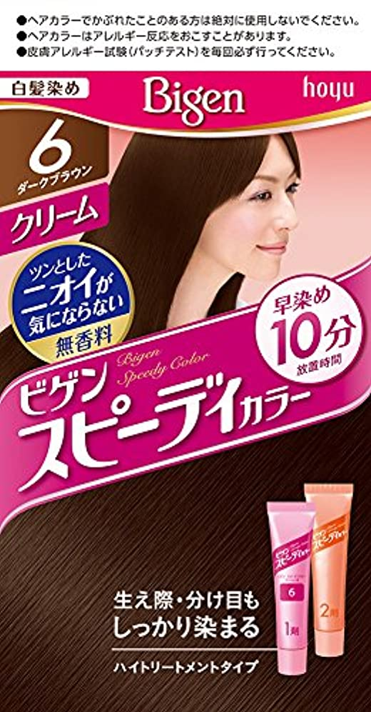 ポインタ枯れるクローゼットホーユー ビゲン スピィーディーカラー クリーム 6 (ダークブラウン)  1剤40g+2剤40g