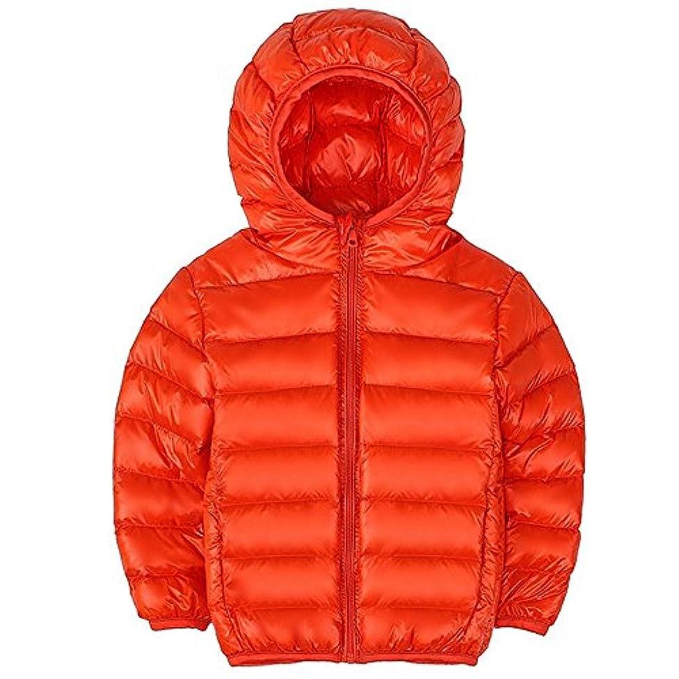 耳崇拝します固有の男の子 女の子 ダウンジャケット キッズ 秋 冬 帽子付きダウンコットンジャケット オレンジ 80