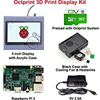 FidgetGear 2016 Octoprint 3D Print Display Kit for Raspberry Pi 3 Model B+Power Supply+Case 5V 2.5A US Power