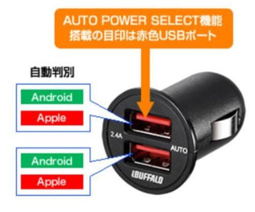 BUFFALO(バッファロー)『USBシガーソケット充電器(BSMPS2401P2BK)』
