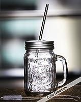 メイソンジャータンブラーマグハンドル&ステンレス製ストロー+洗浄ストロークリーナーブラシ付/Young Mason Jar with metal straw [並行輸入品]